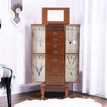 Load image into Gallery viewer, Select nice fdw jewelry cabinet jewelry chest jewelry armoire wood jewelry box storage stand organizer with side doors 7 drawers makeup mirror