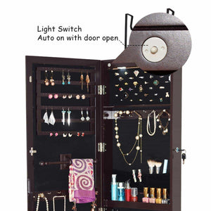 Top giantex wall door mounted jewelry armoire organizer with 2 led lights lockable height adjustable jewelry cabinet with full length mirror large capacity dressing makeup jewelry mirror storage brown