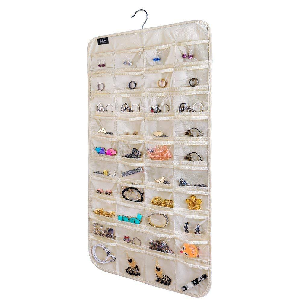 brotrade Hanging Jewelry Organizer,80 Pocket Organizer for Holding Jewelries(Beige)