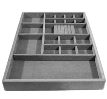 Load image into Gallery viewer, Shop here jewelry drawer organizer wood and velvet for jewels rings necklaces bracelets 20 compartments protects jewelry stackable durable and made in usa gray silver