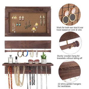 Order now surophy rustic brown wall mount jewelry organizer wall hanging jewelry display with removable bracelet rod from wooden wall mounted mesh jewelry organizer wooden earring bracelet holder for necklace