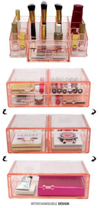Select nice sorbus acrylic cosmetics makeup and jewelry storage case display sets interlocking drawers to create your own specially designed makeup counter stackable and interchangeable pink 1