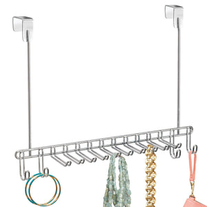 Try mdesign metal over door hanging closet storage organizer rack for mens and womens ties belts slim scarves accessories jewelry 4 hooks and 10 vertical arms on each 2 pack chrome 1