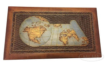 Load image into Gallery viewer, Save world map box w detailed world globe motif handmade linden wood keepsake jewelry treasure collector box desktop office home wooden box desk accessory unique masterpiece great gift idea f business co workers family or friend made in poland