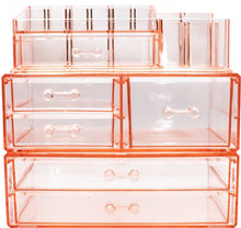 Load image into Gallery viewer, Selection sorbus acrylic cosmetics makeup and jewelry storage case display sets interlocking drawers to create your own specially designed makeup counter stackable and interchangeable pink