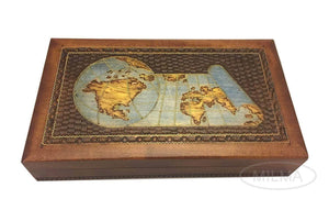 Selection world map box w detailed world globe motif handmade linden wood keepsake jewelry treasure collector box desktop office home wooden box desk accessory unique masterpiece great gift idea f business co workers family or friend made in poland