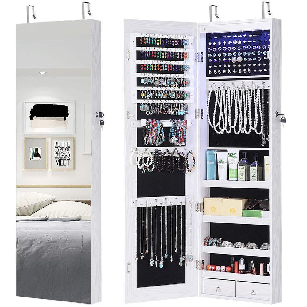 New gissar full length mirror jewelry cabinet 6 leds jewelry armoire wall mounted over the door hanging jewelry organizer storage with lights lockable white