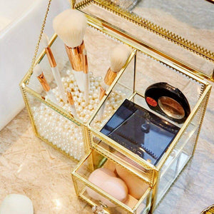 Top rated putwo makeup organizer handmade vintage brass edge makeup brush holder glass makeup brushes storage cosmetic organizer makeup vanity decoration jewelry box make up brushes holder with free pearls