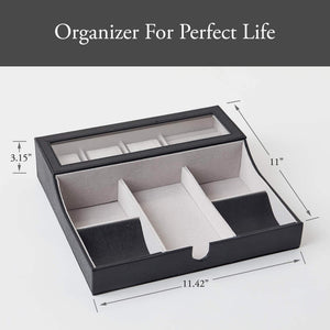 Shop neatopa valet tray men jewelry keys watch nightstand organizer for perfect life on table valet box made of black pu leather velvet with charging station 10 compartment