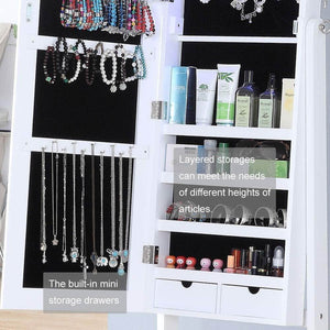 Cheap gissar jewelry organizer full length mirror jewelry cabinet standing wall mounted jewelry armoire storage with lights lockable white