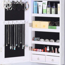 Load image into Gallery viewer, On amazon gissar full length mirror jewelry cabinet 6 leds jewelry armoire wall mounted over the door hanging jewelry organizer storage with lights lockable white