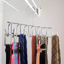 Load image into Gallery viewer, Select nice evelots tie belt scarf jewelry rack hanger closet organizer chrome 14 hooks