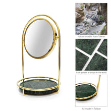 Load image into Gallery viewer, Select nice bonmarb storage green marble table mirror vanity mirror with 1x2x magnfication mirror with jewelry storage mirror with cosmetic storage mirror with hair accessories storage coin tray with mirror
