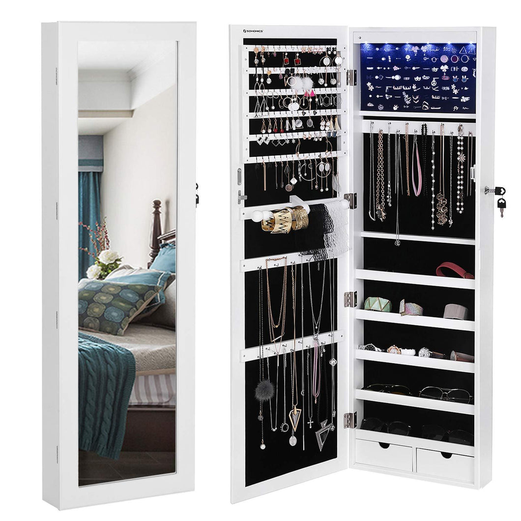 Save songmics 6 leds mirror jewelry cabinet lockable wall door mounted jewelry armoire organizer with mirror 2 drawers pure white ujjc93w