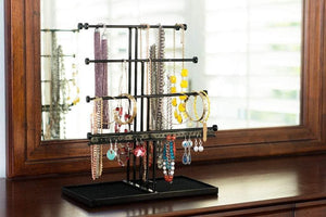 Order now castlencia black velvet tray extra large 5 tier tabletop bracelet necklace earring display jewelry tree jewelry organizer holder