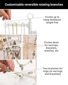 Featured all hung up 12 tier extra capacity jewelry organizer holder stand tower tree with dish tray display everything necklaces earrings 110 pairs rings bracelets limited edition gold white