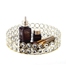 Load image into Gallery viewer, Feyarl Crystal Beads Cosmetic Round Tray Jewelry Organizer Vanity Tray Mirrored Decorative Tray for Home Perfume Skin Care (9 x 9 x 1.57 inches) (Silver)
