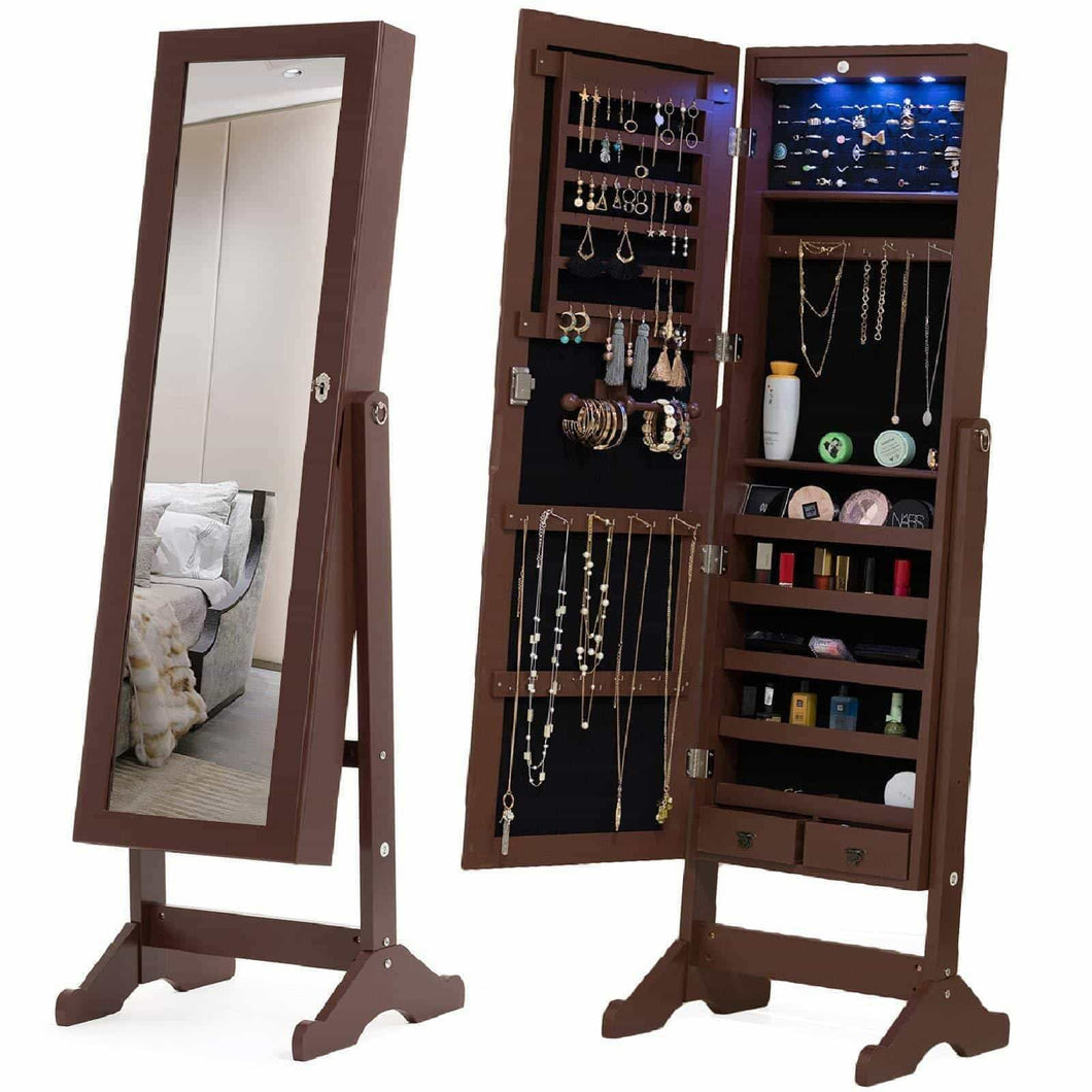 Top mecor jewelry armoire led standing mirrored jewelry cabinet organizer storage lockable full length mirror makeup box w 2 drawers 5 shelves 3 adjustable angle brown