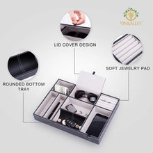 Load image into Gallery viewer, Discover the best vinealley valet tray with ring storage for men and women edc catch all tray pu leather jewelry box decorative desk table bedside nightstand dresser drawer organizer for phone coin wallet accessories