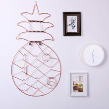 Load image into Gallery viewer, Try jewelry organizer nugoo pineapple shape hanging jewelry display holder wall mount jewelry rack for earrings necklaces and bracelets rose gold