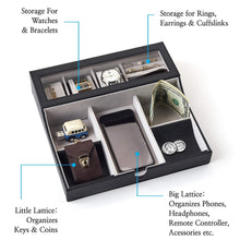 Load image into Gallery viewer, Shop here neatopa valet tray men jewelry keys watch nightstand organizer for perfect life on table valet box made of black pu leather velvet with charging station 10 compartment