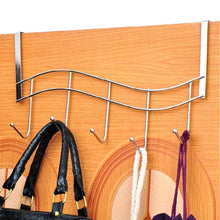 Load image into Gallery viewer, Buy over the door hanger for kitchen tools heavy duty wall storage organizer racks with 5 hooks metal hanging bathroom jewelry closet holder backpack space saver for towel coat jacket robes chrome