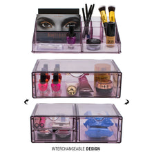 Load image into Gallery viewer, Kitchen sorbus acrylic cosmetics makeup and jewelry storage case x large display sets interlocking scoop drawers to create your own specially designed makeup counter stackable and interchangeable purple