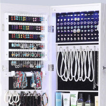 Load image into Gallery viewer, Online shopping gissar full length mirror jewelry cabinet 6 leds jewelry armoire wall mounted over the door hanging jewelry organizer storage with lights lockable white