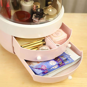 New multifunctional makeup organizer with dustproof jewelry and cosmetic storage skin care products rack dressing table desktop finishing box with drawer on countertop white