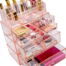 Load image into Gallery viewer, Results sorbus acrylic cosmetics makeup and jewelry storage case display sets interlocking drawers to create your own specially designed makeup counter stackable and interchangeable pink 1