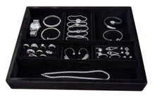 Load image into Gallery viewer, On amazon jewelry tray drawer insert jewelry organizer velvet and wood tray for jewelry bracelets earrings necklaces rings durable and stackable handmade in usa 7 compartments black 15x12x2 black