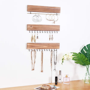 Buy rhf rustic jewelry organizers necklace holder wall mounted storage rack wood metal jewelry organizers bracelets hook racks earring bar hanging jewelry organizer display home decor set of 3