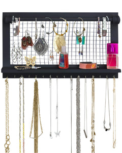 Budget socal buttercup espresso jewelry organizer with removable bracelet rod from wooden wall mounted holder for earrings necklaces bracelets and other accessories