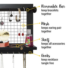 Load image into Gallery viewer, Cheap socal buttercup espresso jewelry organizer with removable bracelet rod from wooden wall mounted holder for earrings necklaces bracelets and other accessories