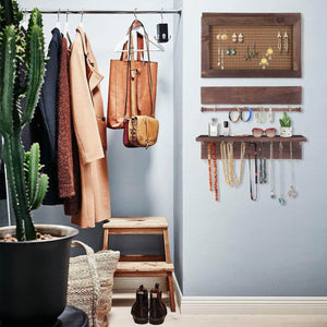 Organize with surophy rustic brown wall mount jewelry organizer wall hanging jewelry display with removable bracelet rod from wooden wall mounted mesh jewelry organizer wooden earring bracelet holder for necklace