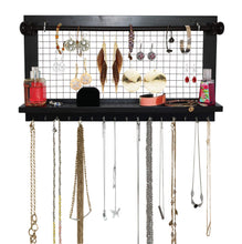 Load image into Gallery viewer, Best socal buttercup espresso jewelry organizer with removable bracelet rod from wooden wall mounted holder for earrings necklaces bracelets and other accessories