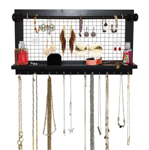 Best socal buttercup espresso jewelry organizer with removable bracelet rod from wooden wall mounted holder for earrings necklaces bracelets and other accessories