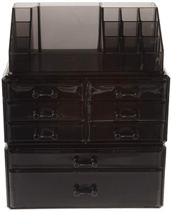 Selection songmics makeup organizer 8 drawers cosmetic storage 3 pieces set jewelry display case with 16 top compartments black ujmu08b