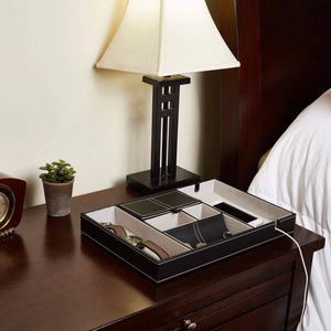 Storage organizer bedside tray organizer nightstand storage phone wallet electronics charging keys books glasses desk table dresser caddy control bedside organizers men women smartphone jewelry compartment