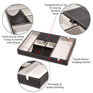 Storage bedside tray organizer nightstand storage phone wallet electronics charging keys books glasses desk table dresser caddy control bedside organizers men women smartphone jewelry compartment