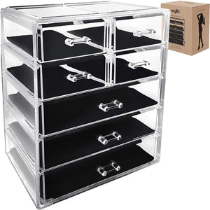 Acrylic Cosmetic Makeup Jewelry Organizer - Large 7 drawer make up holder for brush cream lipstick palette! Countertop beauty makeup organization box