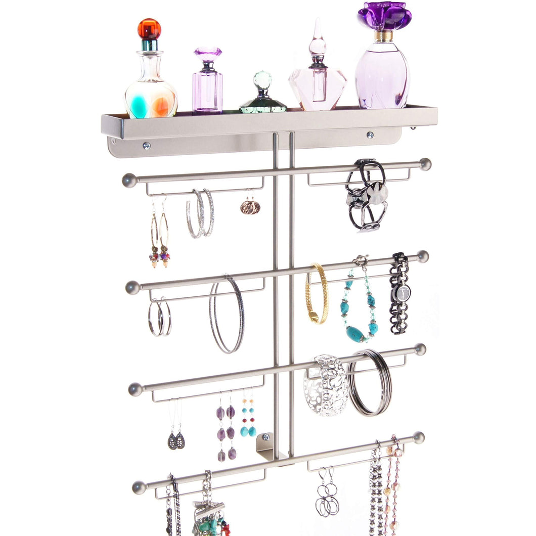 Amazon best angelynns bracelet display wall mount jewelry organizer earring holder necklace rack closet storage shelf carol satin nickel silver