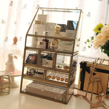 Load image into Gallery viewer, Products antique spacious makeup organizer mirror glass drawers set brass metal cosmetic vanity storage stunning jewelry cube countertop dresser vintage makeup holder nightstand for perfume brushes skincare