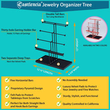 Load image into Gallery viewer, Purchase castlencia black velvet tray extra large 5 tier tabletop bracelet necklace earring display jewelry tree jewelry organizer holder
