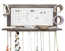 Load image into Gallery viewer, Explore socal buttercup rustic jewelry organizer wall mount with bracelet pegs necklace holder earring hanger hanging mounted wooden shelf to display earrings necklaces and accessories from