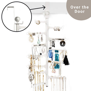 Try all hung up 12 tier extra capacity over the door or wall mounted jewelry organizer display everything save space long necklaces earrings 110 pairs rings bracelets white