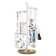 Load image into Gallery viewer, Discover the best all hung up 12 tier extra capacity jewelry organizer holder stand tower tree with dish tray display everything necklaces earrings 110 pairs rings bracelets limited edition gold white