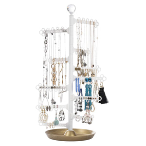 Discover the best all hung up 12 tier extra capacity jewelry organizer holder stand tower tree with dish tray display everything necklaces earrings 110 pairs rings bracelets limited edition gold white