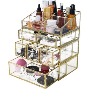 Try hersoo large mirror glass top dresser make up organizer jewelry cosmetic display stackable cube 6 drawers set dresser storage for vanity with lid bathroom accessories brushes container 3drawerg