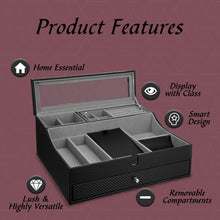 Load image into Gallery viewer, Select nice jewelry valet tray for men sleek dresser organizer box for storage display perfect for phone watches sunglasses jewelry wallet rings necklace more carbon fiber faux leather